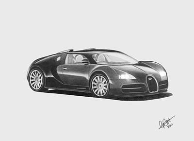 Automobile Drawing - Bugatti Veyron Eb by Chris Cox