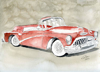 Art Print featuring the painting Buick Skylark 1953 by Eva Ason