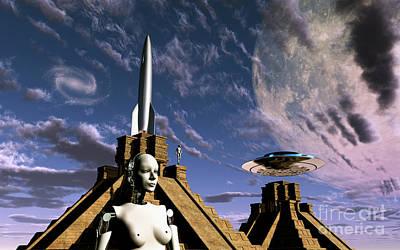 Rocketship Digital Art - Builders Of The Mayan Pyramids Visit by Mark Stevenson