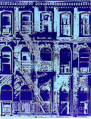 Blue Hues - Building Facade In Blue by Rich Walter