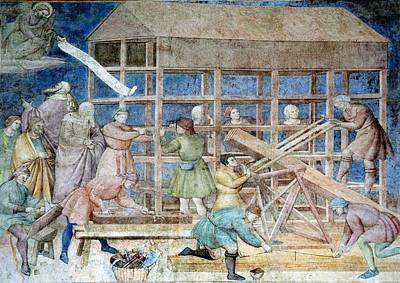 Building Noah's Ark, 14th Century Fresco Art Print by Sheila Terry