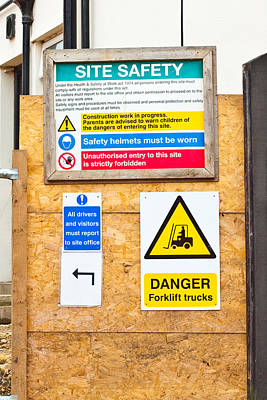 Building Site Signs Art Print by Tom Gowanlock