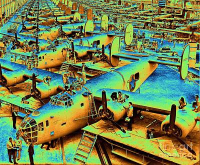 Twin Tailed Photograph - Building The B24 Fleet 1943 by Padre Art