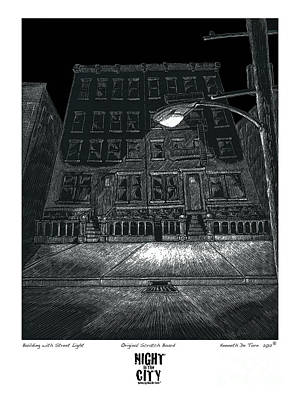 Building With Street Light Art Print by Kenneth De Tore