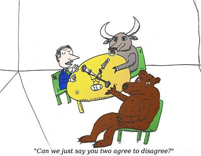 Different Opinions Mixed Media - Bull And Bear Are Talk Show Guests by OptionsClick BlogArt