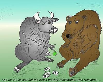 Financial Mixed Media - Bull And Bear Toss The Apple by OptionsClick BlogArt