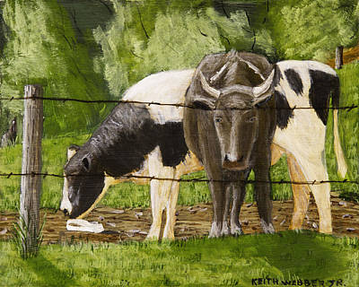 Barbed Wire Fences Painting - Bull And Cow Spring Farm Field Painting by Keith Webber Jr