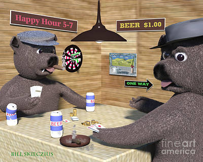 Bull Dogs Playing Poker Original