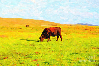 Bull Grazing In The Field Art Print by Wingsdomain Art and Photography