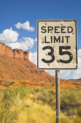 Vandalize Photograph - Bullet Holes In Speed Limit Sign by Thom Gourley/Flatbread Images, LLC