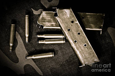 Nickel Yellow Photograph - Bullets And Magazine by Pongsak Deethongngam
