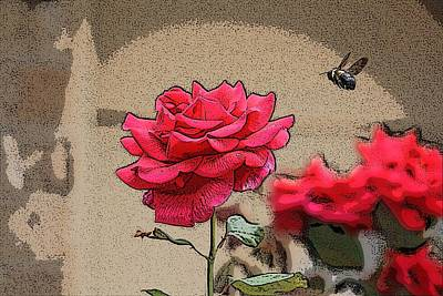 Art Print featuring the photograph Bumble Bee And Rose by Donna  Smith