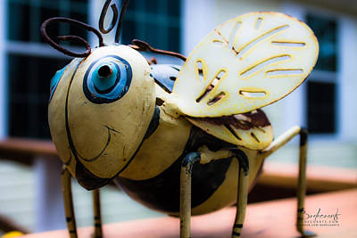 Bumble Bee Of Happiness Metal Sculpture Art Print by Robin Lewis