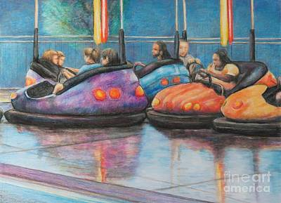 Bumper Car Traffic Jam Art Print by Charlotte Yealey