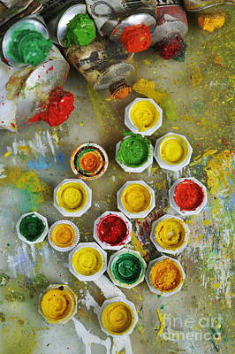 Photograph - Bunch Of Opened Paint Tubes On Palette by Sami Sarkis