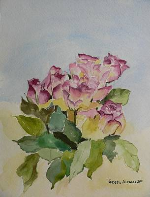 Art Print featuring the painting Bunch Of Roses by Geeta Biswas