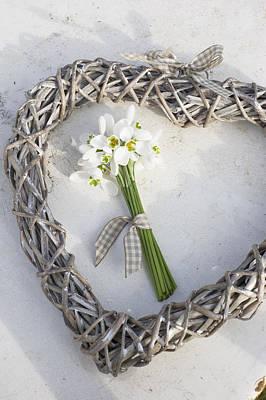 Winter Wedding Flowers Photograph - Bunch Of Snowdrops (galanthus Nivalis) In Heart Wreath by Juliette Wade
