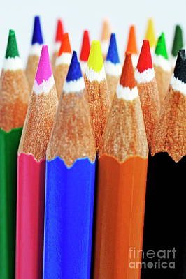 Photograph - Bunch Of Standing Colorful Crayons by Sami Sarkis