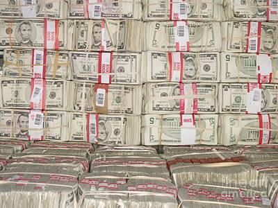 Bundles Of Five Dollar Bills Art Print by Adam Crowley