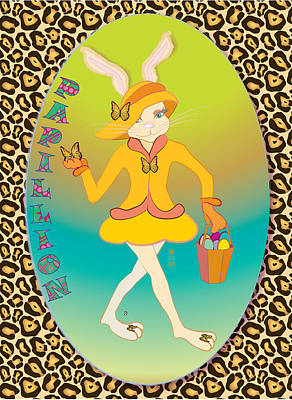 Digital Art - Bunnie Girls- Papillion- 4 Of 4 by Brenda Dulan Moore