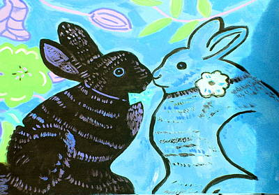 Bunnies In Love Print by Patricia Lazar