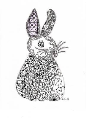 Zendoodle Drawing - Bunny Too by Paula Dickerhoff