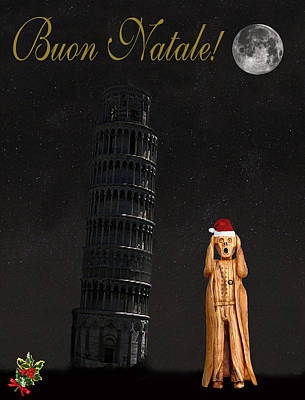 Leaning Mixed Media - Buon Natale Pisa Merry Christmas by Eric Kempson