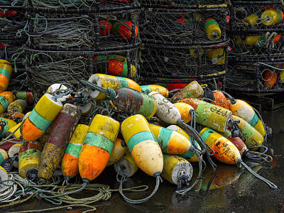 Buoys And Crabpots On The Oregon Coast Art Print by Carol Leigh