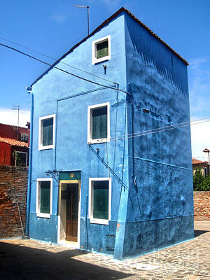 Photograph - Burano Island - Strange Blue House by Gregory Dyer