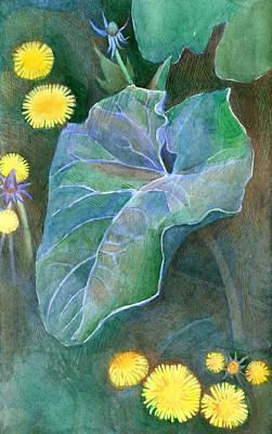 Racei Painting - Burdock And Dandelions. 2007 by Yuri Yudaev