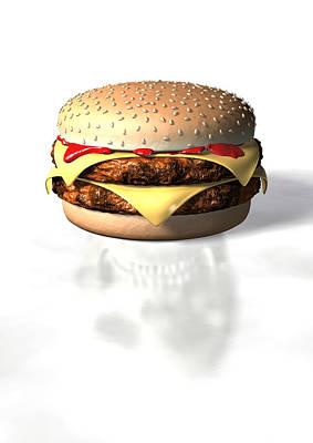 Burger And Skull Art Print by David Mack