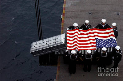 Photograph - Burial At Sea Ceremony Onboard Aircraft by Stocktrek Images