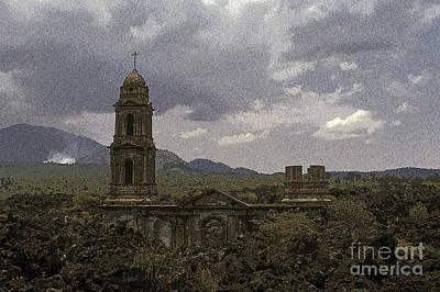 Photograph - Buried Church Paricutin Mexico by John  Mitchell