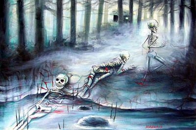 Grave Yard Painting - Buried In The Woods by Heather Calderon