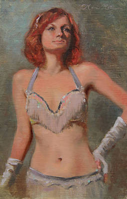 White Gloves Painting - Burlesque Dancer by Anna Rose Bain