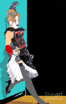 Digital Art - Burlesque Drawing 2 With Colour by Joanne Claxton
