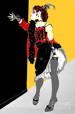 Digital Art - Burlesque Drawing In Colour by Joanne Claxton