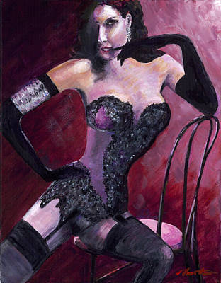 Dita Von Teese Painting - Burlesque Icon Dita Von Teese by Steve Manton