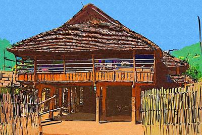Digital Art - Burmese Village House by Fran Woods