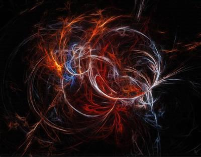 Burnt Digital Art - Burning Spiral by Nafets Nuarb