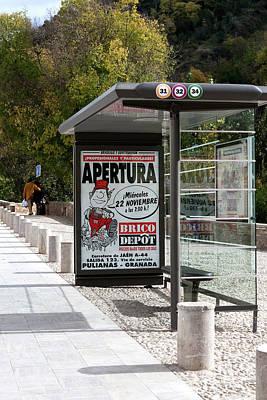 Photograph - Bus Stop Bus Goes by Lorraine Devon Wilke