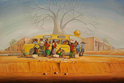Malawi Painting - Bus Stop by Nisty Wizy