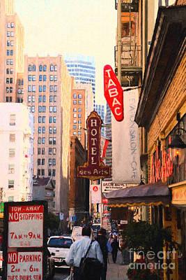 Bay Area Digital Art - Bush Street In San Francisco by Wingsdomain Art and Photography