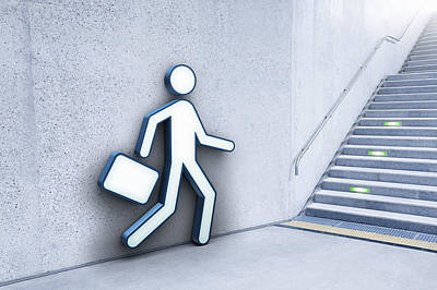Businessman And Stairs Print by Jorg Greuel