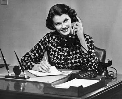 Businesswoman On Telephone Art Print by George Marks