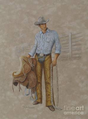 Drawing - Busted Bronc Rider by Phyllis Howard