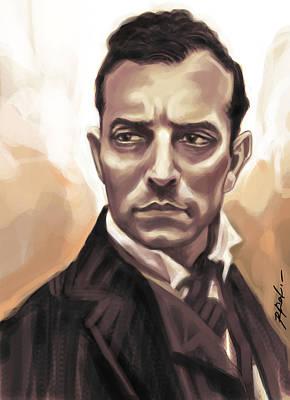 Keaton Digital Art - Buster Keaton by Kamal Anjelo