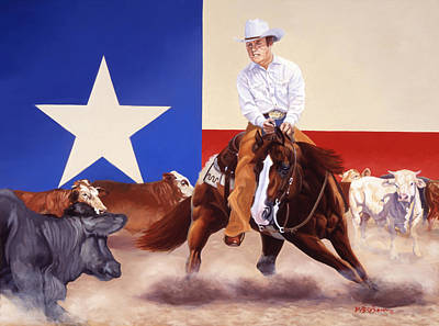 Painting - Buster Welch On Peppy San Badger by Howard Dubois