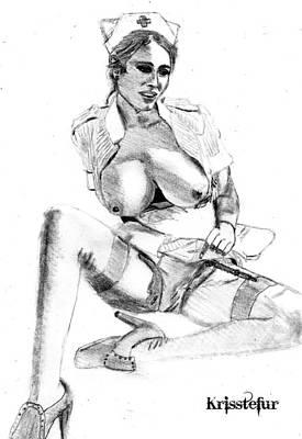 Busty Nurse Print by Kriss Tefur
