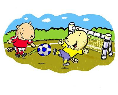 Juvenile Wall Decor Digital Art - Busy Beaver Soccer by Scott Nelson